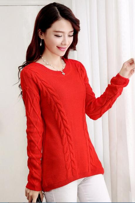 Fashion O-Neck Long Sleeve Sweater For Women