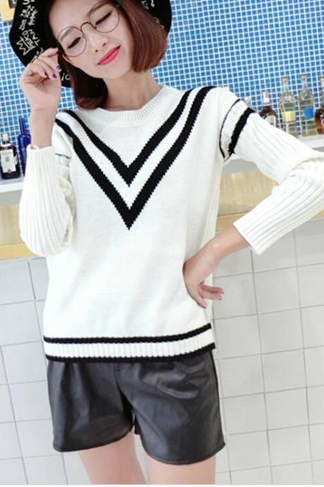 Women fashion Autumn striped knitted Sweater long Sleeve casual Knitwear