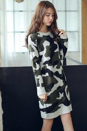 New arrival women loose wool casual long sleeve dress