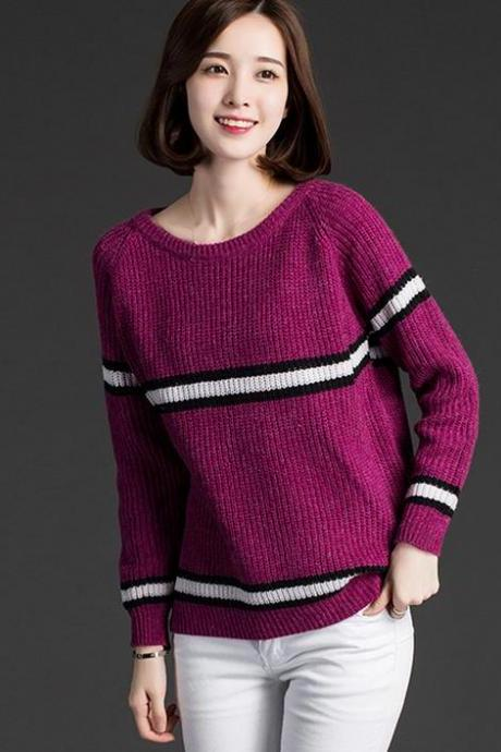 New thin stripe Long Sleeve Loose Sweater
