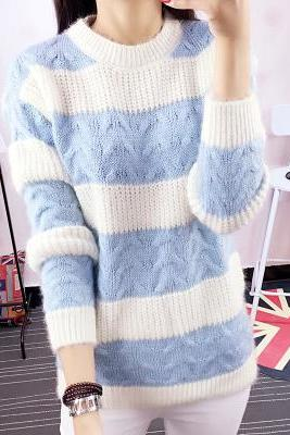 Warm Sweaters Women Fashion Casual Knitted Pullover O-Neck Long Sleeve Lady Sweater