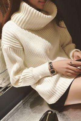 Women's long-sleeved high collar knit sweater