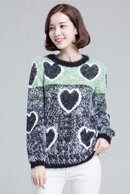 Fashion Women Heart Pattern Casual Knitted Pullover O-Neck Long Sleeve Lady Sweater