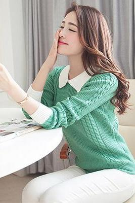 Sweet Turn-Down Collar Women Primer Shirt Candy Casual Pullovers Sweater