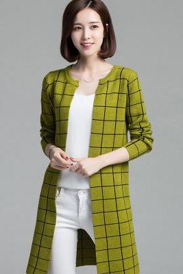 New women plaid sweater lady casual long cardigan coat