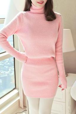 Pink Turtle Neck Knitted Sweater Dress