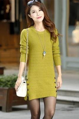 New autumn and winter long knit female slim sweater dress
