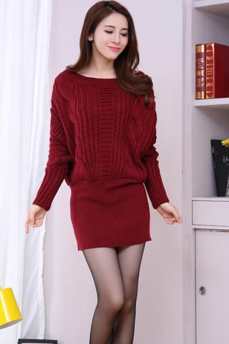 New fashion Women Bat sleeve sweater dress