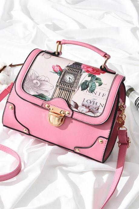 Retro British Style Female Handbag Package Women Shoulder Slope Across Bag - Pink