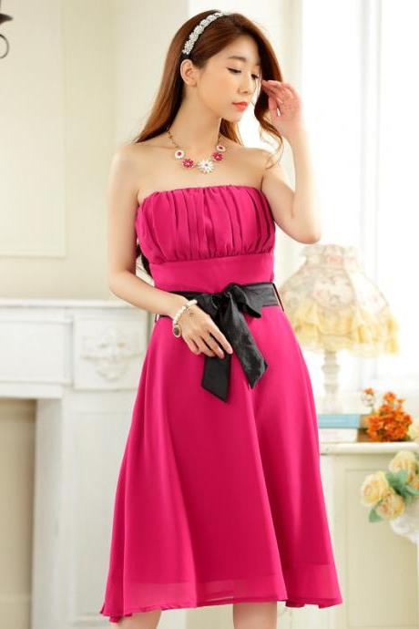 New Nice Women Chiffon Strapless Evening Formal Party Dress Bridesmaid Wedding Dress