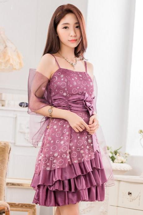 New Fashion Satin Women's Spaghetti Sequined Evening Formal Party Dress Bridesmaid Wedding Dress