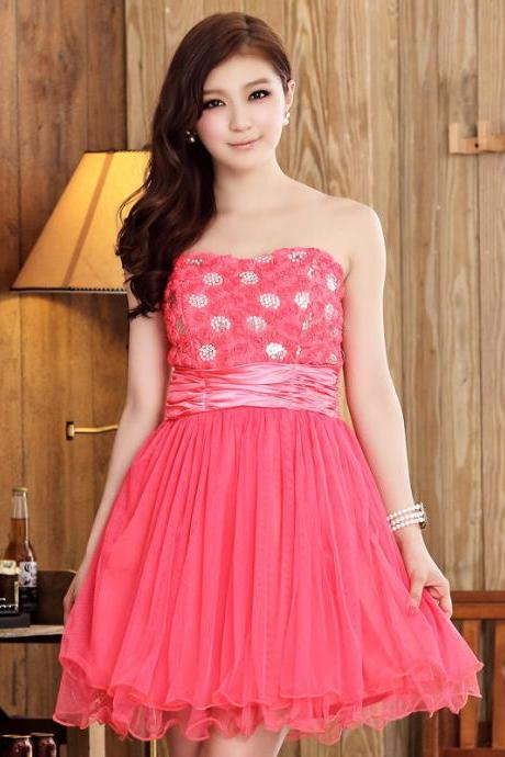 Cute Strapless Mini Evening Dress Mini Bridesmaid Dress