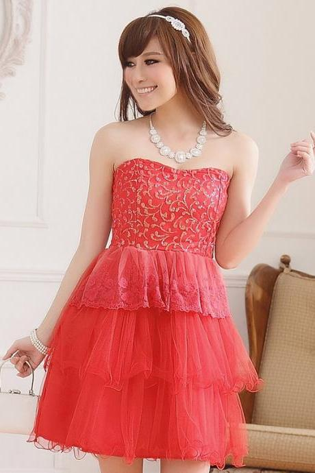 Cute Strapless Mini Cake Evening Dress Mini Bridesmaid Dress Evening dress