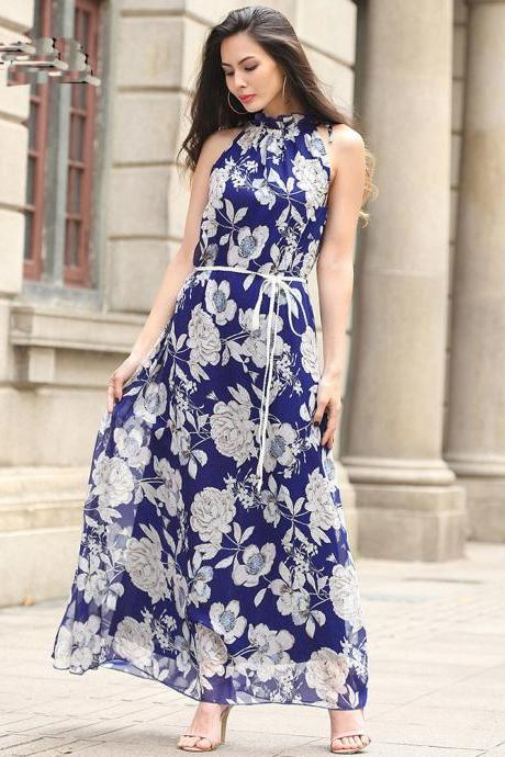 Fashion Women Halter Neck Printed Long Maxi Dress With Belt - Blue