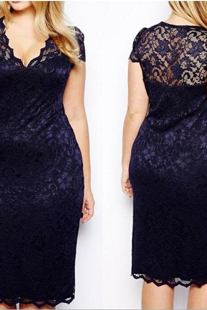 Free Shipping Hollow Sexy V Collar Big Size Lace Dress