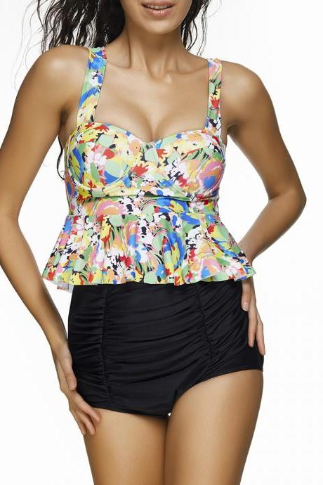 New High Waist Women Plus Size Tankini Swimwear