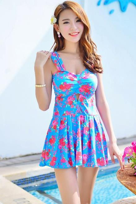 New Sweet Supplier Women Swimsuit Swimwear Dress - Sky Blue