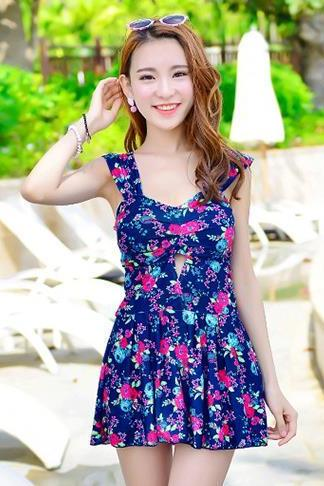 New Sweet Supplier Women Swimsuit Swimwear Dress - Blue