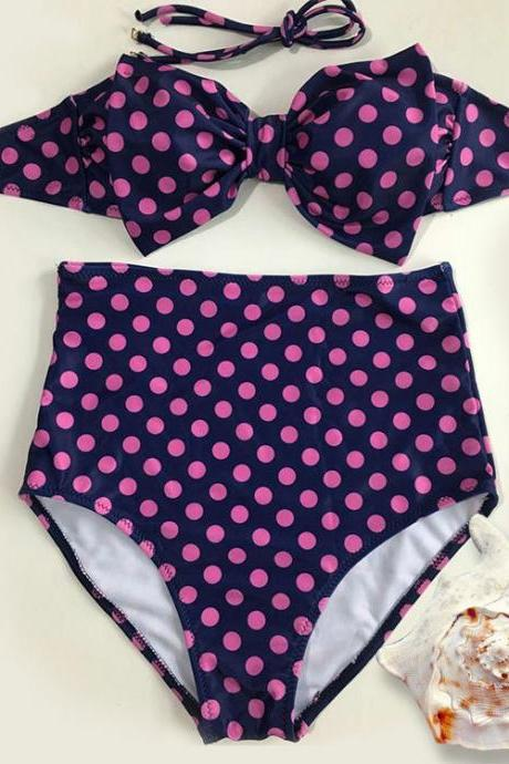 Women Dot High Waist Swimsuit Swimwear Bikini