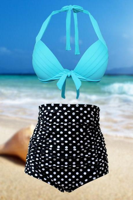 Sexy girl Dot Women High Waist Swimsuit Swimwear Bikini
