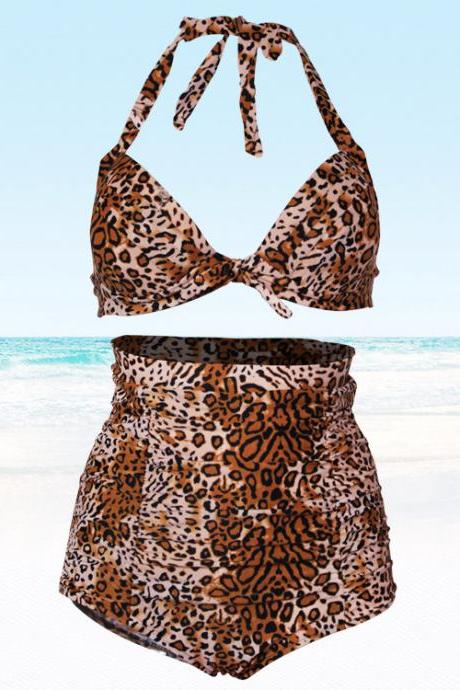 Women Retro Leopard High Waist Swimsuit Swimwear Bikini