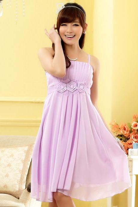 Strapless Chiffon Flowers Elegant Evening Party Dresses Wedding Bridesmaid Dress - Purple