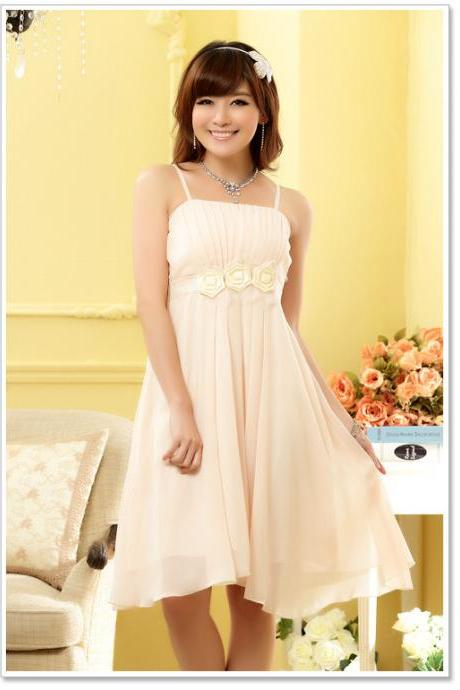 Strapless Chiffon Flowers Elegant Evening Party Dresses Wedding Bridesmaid Dress - Beige