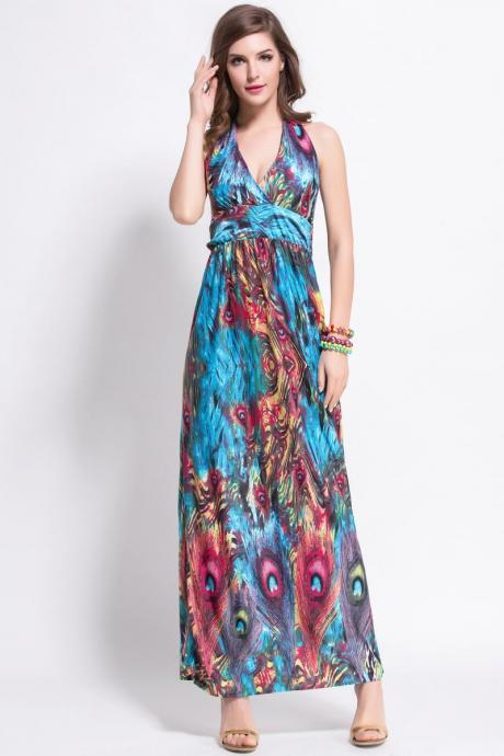 summer new deep v-neck peacock bohemia long beach dress sexy casual maxi dress