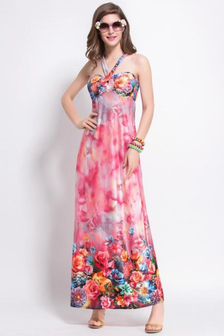 Summer Women Strap Printed Sexy Bohemian Casual Maxi Beach Dress - Red