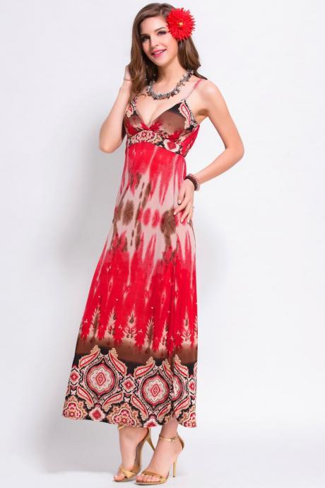 Red Summer Women Strap Printed Sexy Bohemian Maxi Beach Long Dress