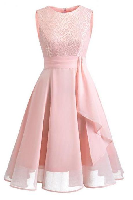 Women's Sleeveless Ruffles Floral Chiffon Party Dress - Pink