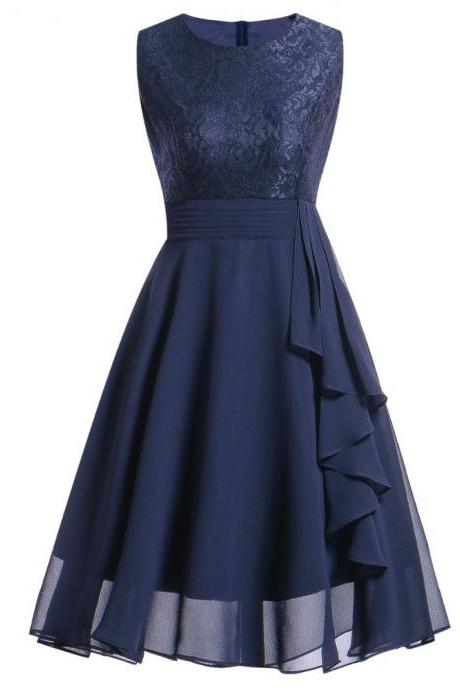 Women's Sleeveless Ruffles Floral Chiffon Party Dress - Dark Blue