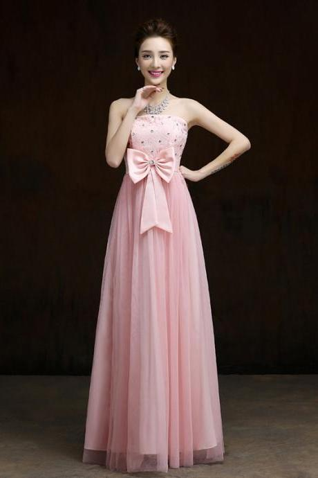 New Elegant Bow Long Evening Dress,Beaded Prom Dress,Formal Dress - Pink