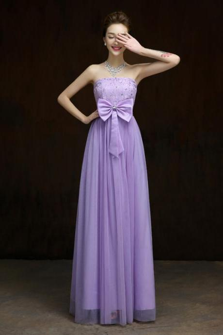 New Elegant Bow Long Evening Dress,Beaded Prom Dress,Formal Dress - Purple