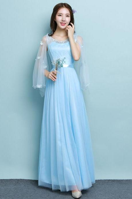 New Lignt Blue Long Design Elegant Gown Evening Dress
