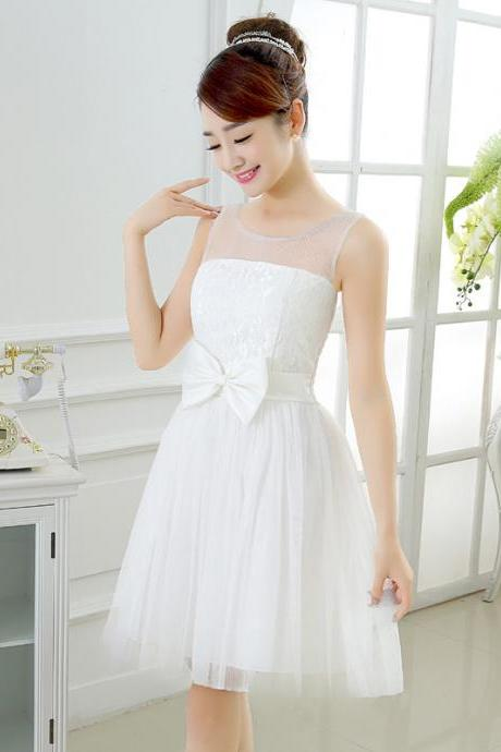 Sweet Bow Mini Bridesmaid Prom Dresses -White