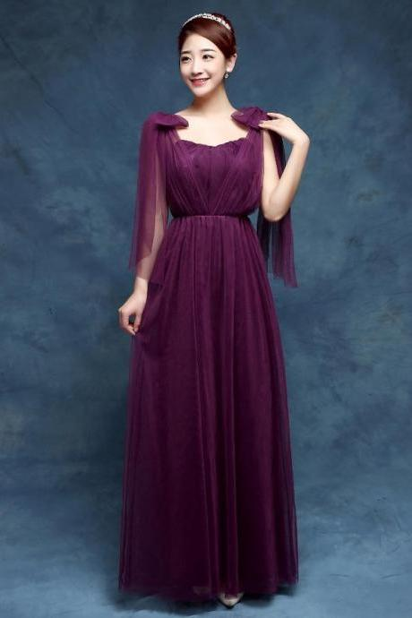 New Convertible Bridesmaid Dresses A Line Long Wedding Party Dress - Dark Purple