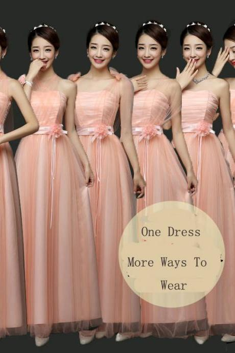 New Convertible Bridesmaid Dresses A Line Long Wedding Party Dress - Pink