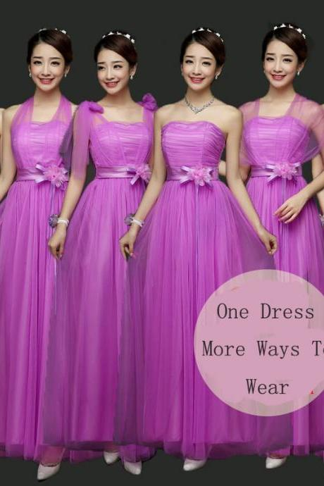 New Convertible Bridesmaid Dresses A Line Long Wedding Party Dress - Purple