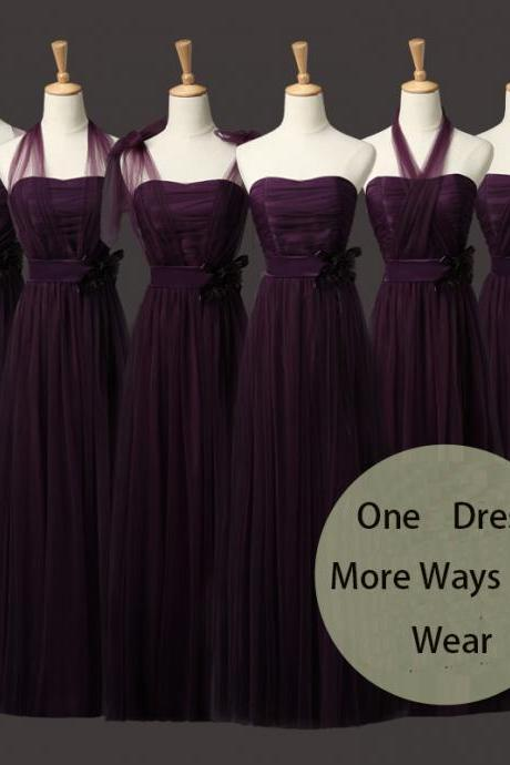 New Convertible Long Bridesmaid Wedding Party Dress - Dark Purple