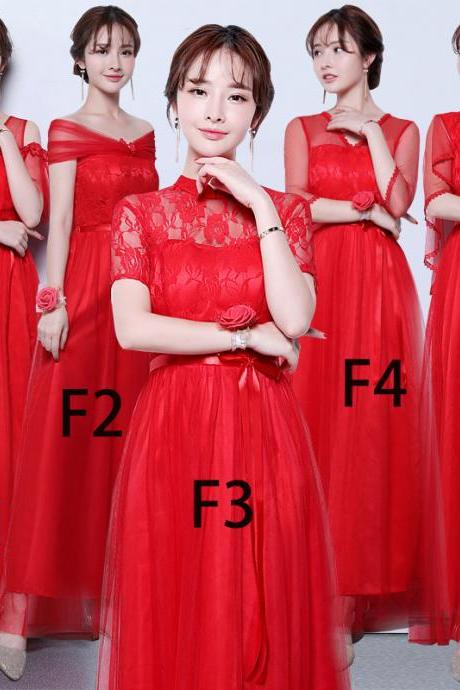 Women Red Color Long Prom Evening Party Bridesmaid Wedding Gown Dress