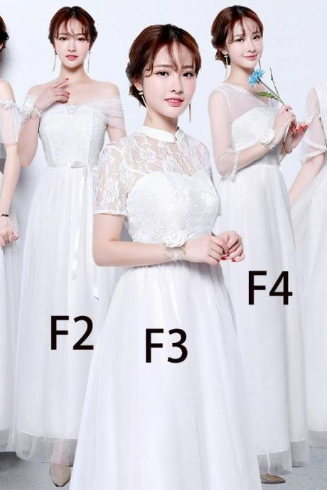 Women White Color Long Prom Evening Party Bridesmaid Wedding Gown Dress