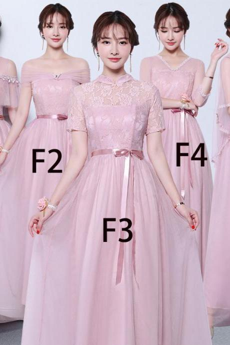 Women Pink Color Long Prom Evening Party Bridesmaid Wedding Gown Dress