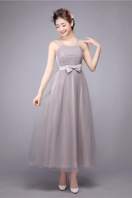 Sweet Gauze Bridesmaid Dresses A Line Long Wedding Party Dress - Grey