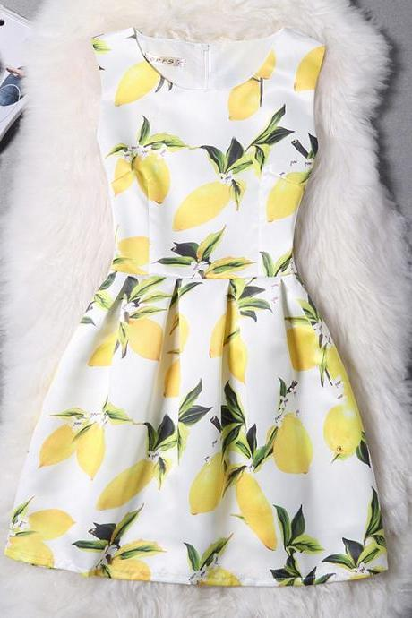 Fashion Yellow Casual Printing Sleeveless Vest Dress