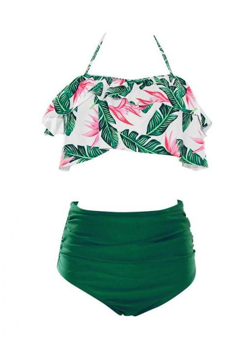 New High Waist Bikini Set Crop Top Swimwear Women Floral Swimsuit Push Up Biquini Flounce Bathing Suit Plus Size Swim Suits