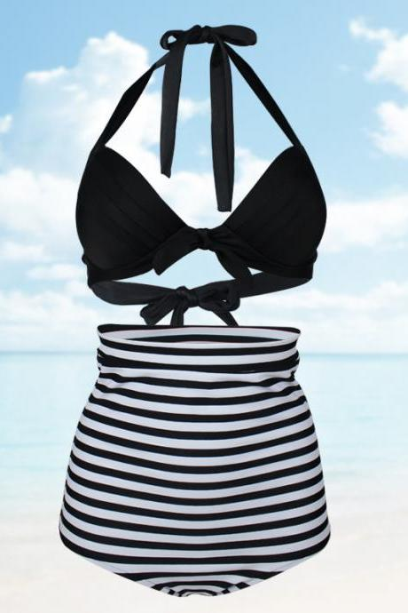 Women Stripe High Waist Swimsuit Swimwear Bikini