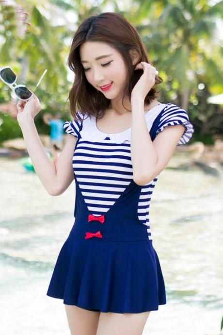 Girl Stripe Comfortable Short Sleeve Swimwear swimsuit student One Piece Swimsuit Dress