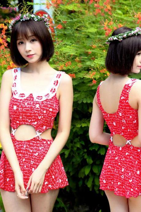 Fashion women ladies girl students sexy swim swimming bathing spa springs beach suit swimsuit swimwear - Red