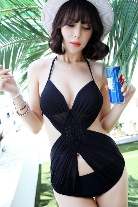 New Fashion Backless Sexy Black One Piece Swimsuit